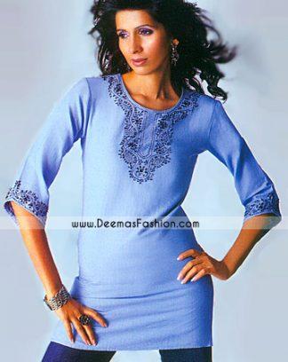 Pakistani Fashion Clothes Light Purple Embroidered Top