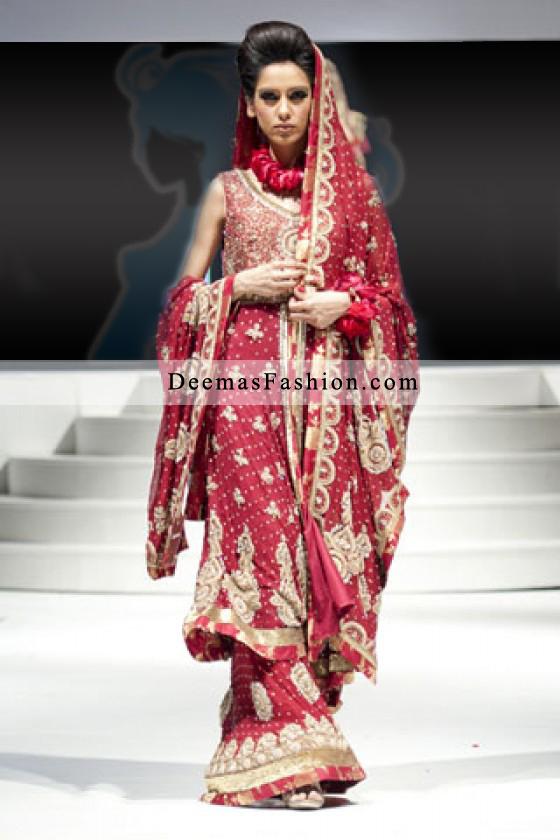 Pakistani Designer Bridal Wear Fashion Bright Red Sharara