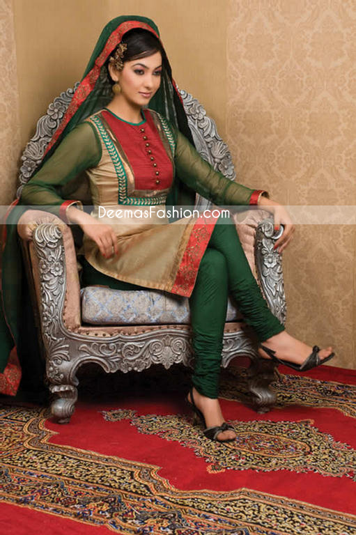 Pakistani Designer Clothes - Dark Green Golden Dress