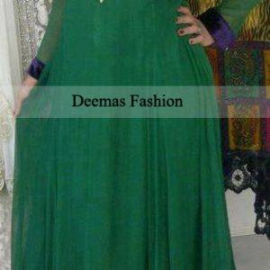 Pakistani Designer Collecion Dark Green Anarkali Frock