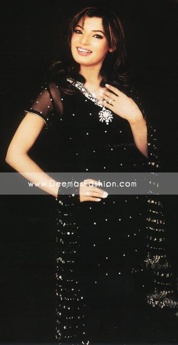 Pakistani Designer Dress - Black Silver Embroidered Clothes