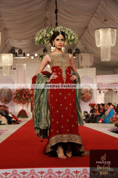 Pakistani Designer Dress Red Back Trail Dress