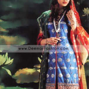 Pakistani Designer Wear Bridal Dress - Red Blue Dress