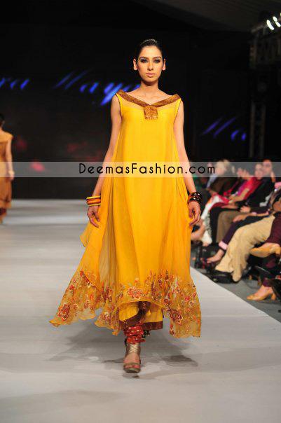 Pakistani Designer Wear - Golden Yellow Pishwas