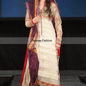 Pakistani Designer Collection White Aline Long Shirt Churidar