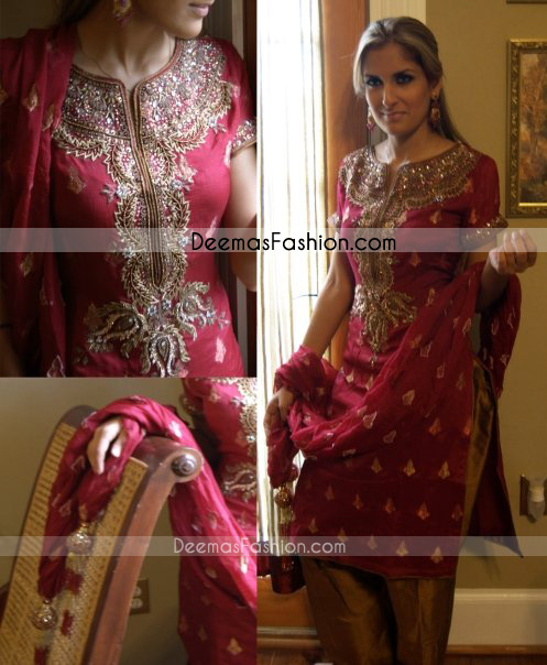 Pakistani Designers Collection Deep Red Rust Dress Latest Designer