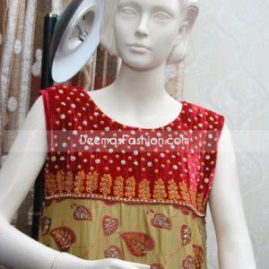 Latest Pakistani Formal Wear Red Golden Dress