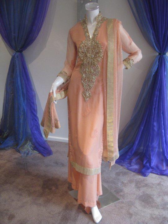 Paksitani Casual Dress - Peach Chiffon Designer Wear