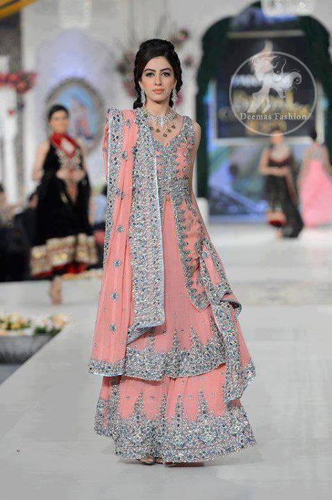 Pinkish-peach-bridal-front-open-shirt-with-double-layer-lehnga