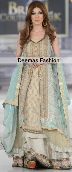 Pistacho Green Gown Back Trail Frock Lehnga