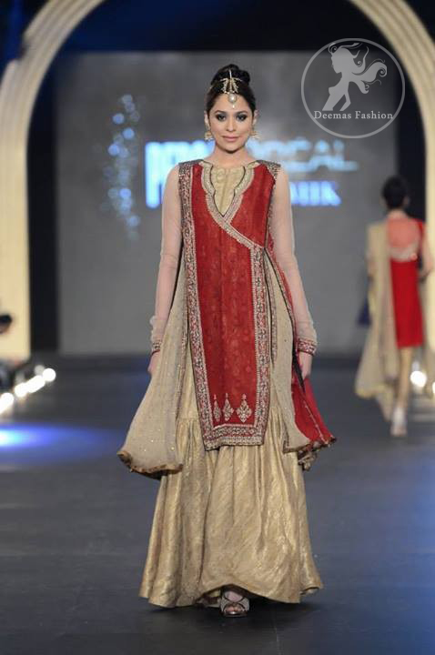 Red Angrakha Style Shirt - Light Gold Gharara
