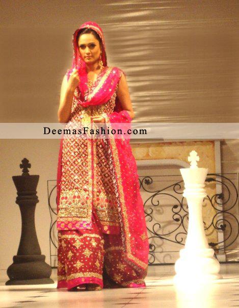 Red Designer Wear Front Open Kameez Bridal Sharara