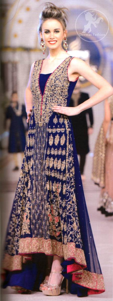 Royal Blue Heavily Embellished Back Trail Frock