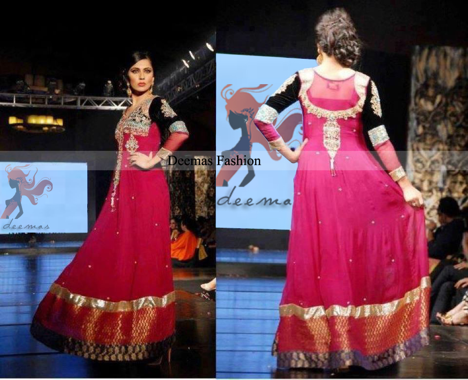 Shocking Pink Anarkali Pishwas Dress