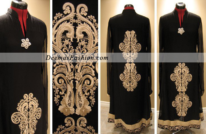 Stylish Black Embroidered Dress