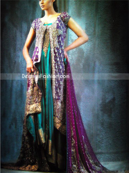 New Designer Dress Turquoise Green Magenta Gown