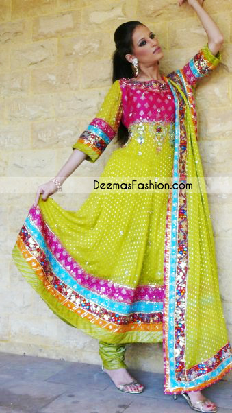 Tradition Pakistani Dress - Green Anarkali Style Frock Churidar