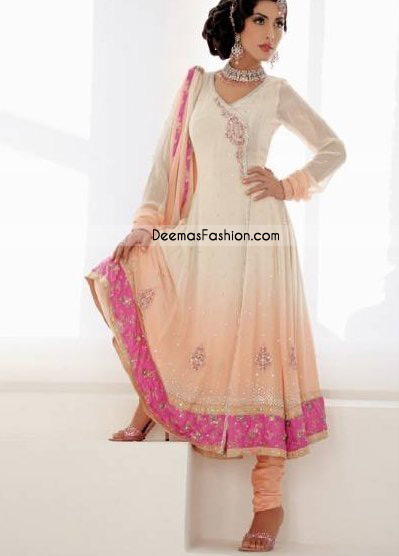Ladies Anarkali Dress – Peach White Pishwas
