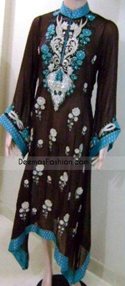 Pakistani Fashion Dark Brown Ferozi Casual Wear