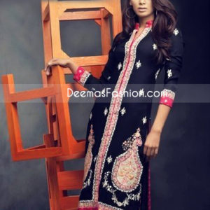 Pakistani Designer Wear Black Red Chiffon Dress