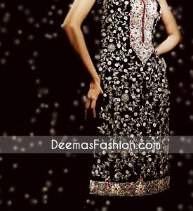 Pakistani Ladies Wear - Black & White Embroidered Dress