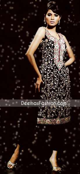 Pakistani Ladies Wear – Black & White Embroidered Dress