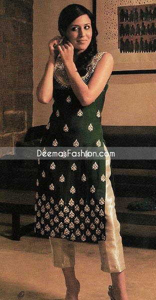 Pakistani Boutique Dress Bottle Green Golden Raw Silk Latest