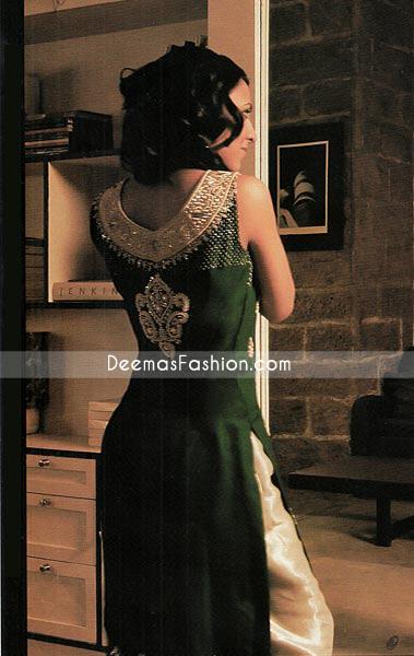 Pakistani Boutique Dress - Bottle Green & Golden Raw Silk