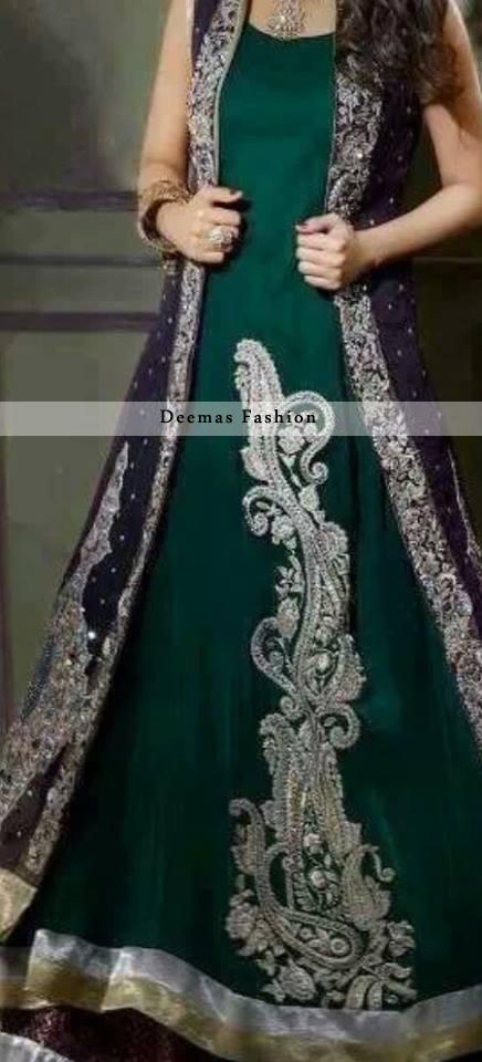 Bottle Green Front Open Gown Style Long Dress