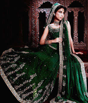 Pakistan Bottle Green Bridal Wear Lehnga Sale