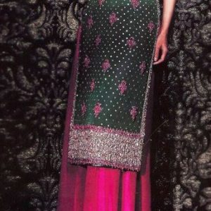 Designer Dress Bottle Green Shocking Pink Sharara