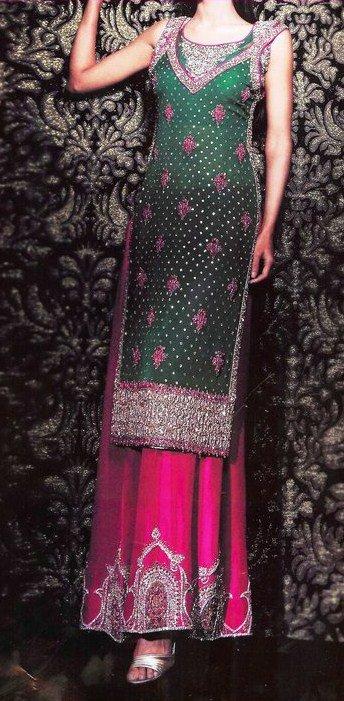 Designer Dress Bottle Green Shocking Pink Sharara