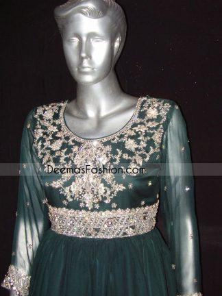 Pakistani Designer Dress Bottle Green Anarkali Frock