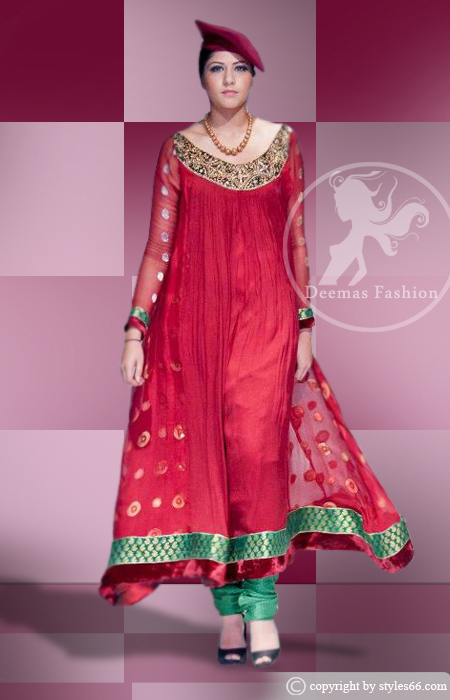 Bright Red A-Line Frock Bottle Green Churidar