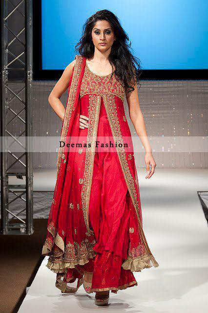 Bright Red Front Open Gown and Sharara - Latest Designer Dresses ...