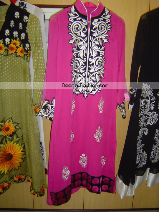 Latest Pakistani Embroidered Collection Shocking Pink Casual Dress