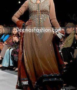 Pakistani Fashion Choclate Brown Anarkali Designers Outfit