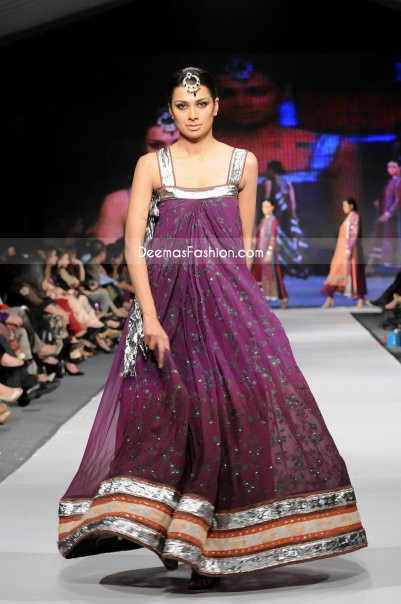 Latest Pakistani Fashion Dark Purple Pishwas Churidar