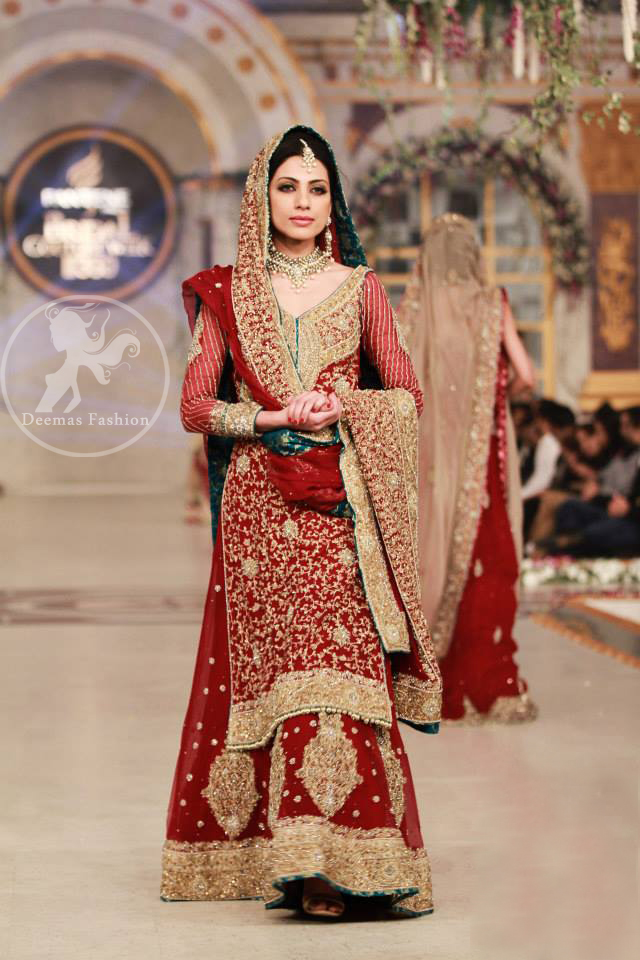 deep-red-heavy-bridal-shirt-lehenga