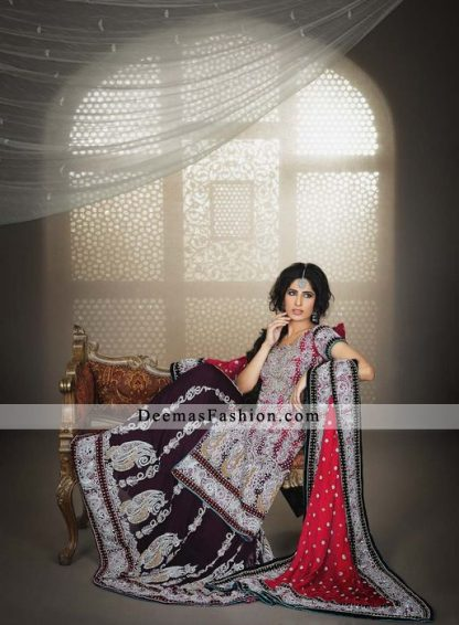 Deep Red Plum Bridal Wear Lehnga