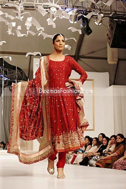 Pakistani Ladies Fashion Red Bridal Anarkali Outfit