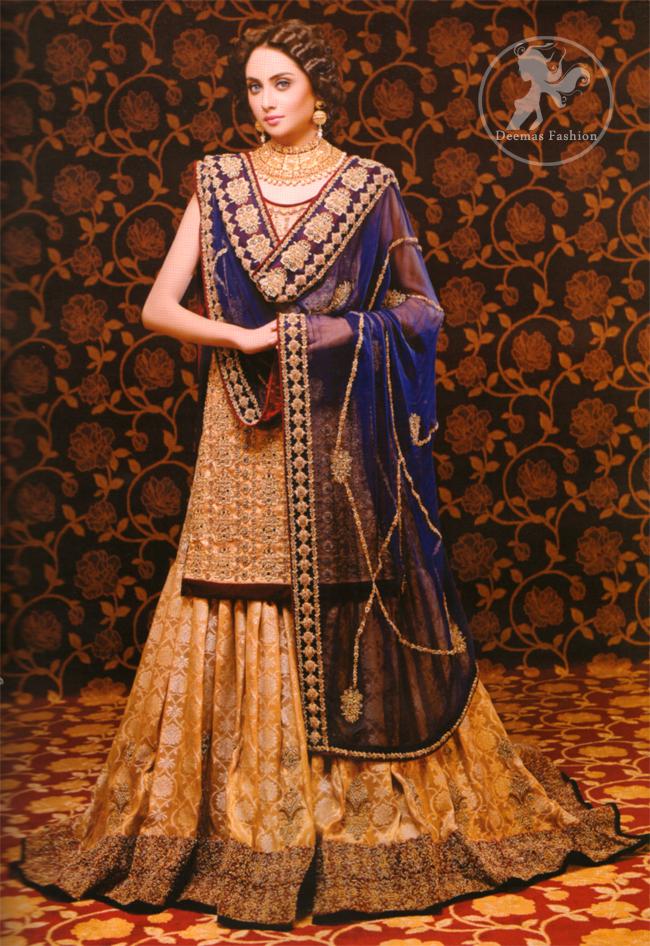 Golden & Royal Blue Bridal Dress