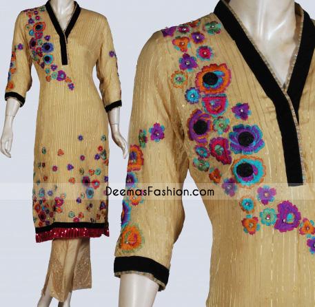 Purchase Latest Pakistani Suits Golden Yellow Long Shirt