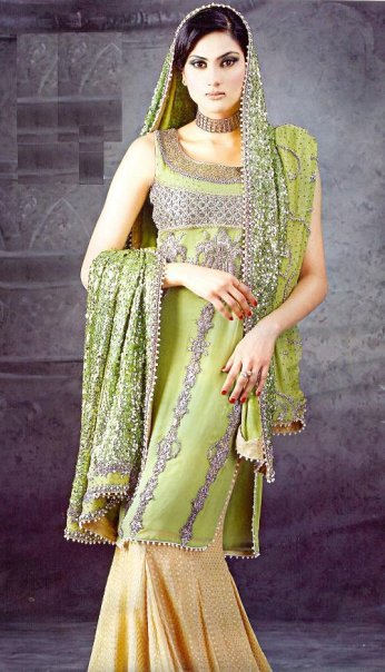 Pakistani Bridal Fashion Green Yellow Sharara