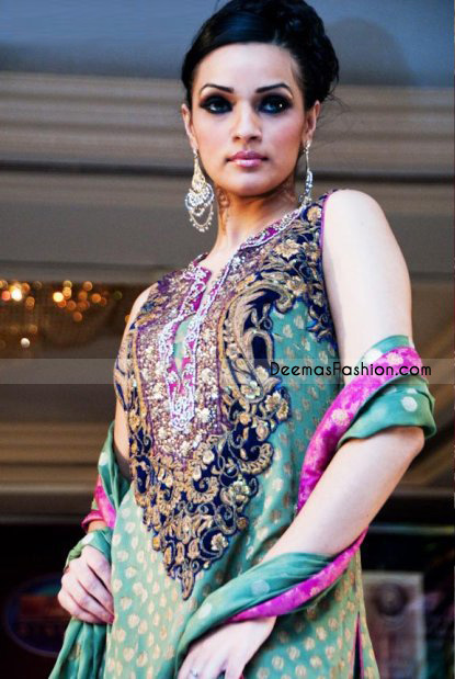 Latest Pakistani Trend – Light Green & Magenta