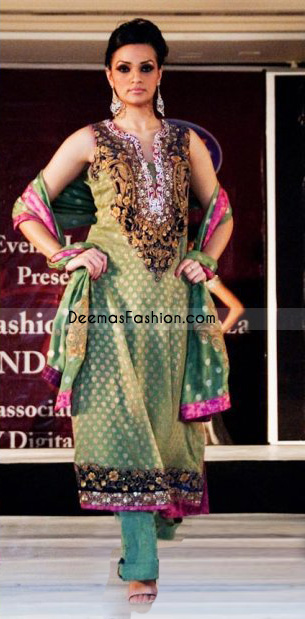 Buy Pakistani Fashion Dress Light Green Magenta