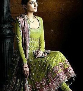 Asian Latest Anarkali Mehndi Green Bridal Wear Dress
