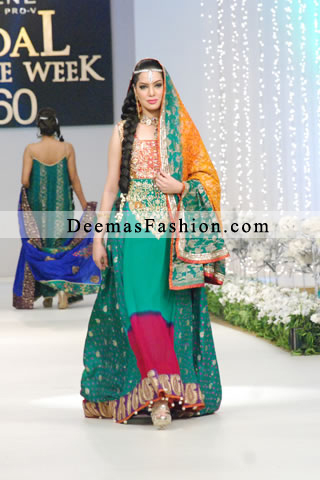 Latest Pakistani Fashion 2011 Multi Colour A-Line Frock Churidar