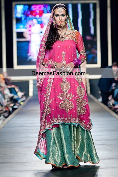 Latest Pakistani Fashion 2011 Shocking Pink Sea Green Sharara