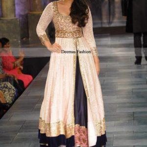Latest Pakistani Dress Off-White Navy Blue Gown Lehnga